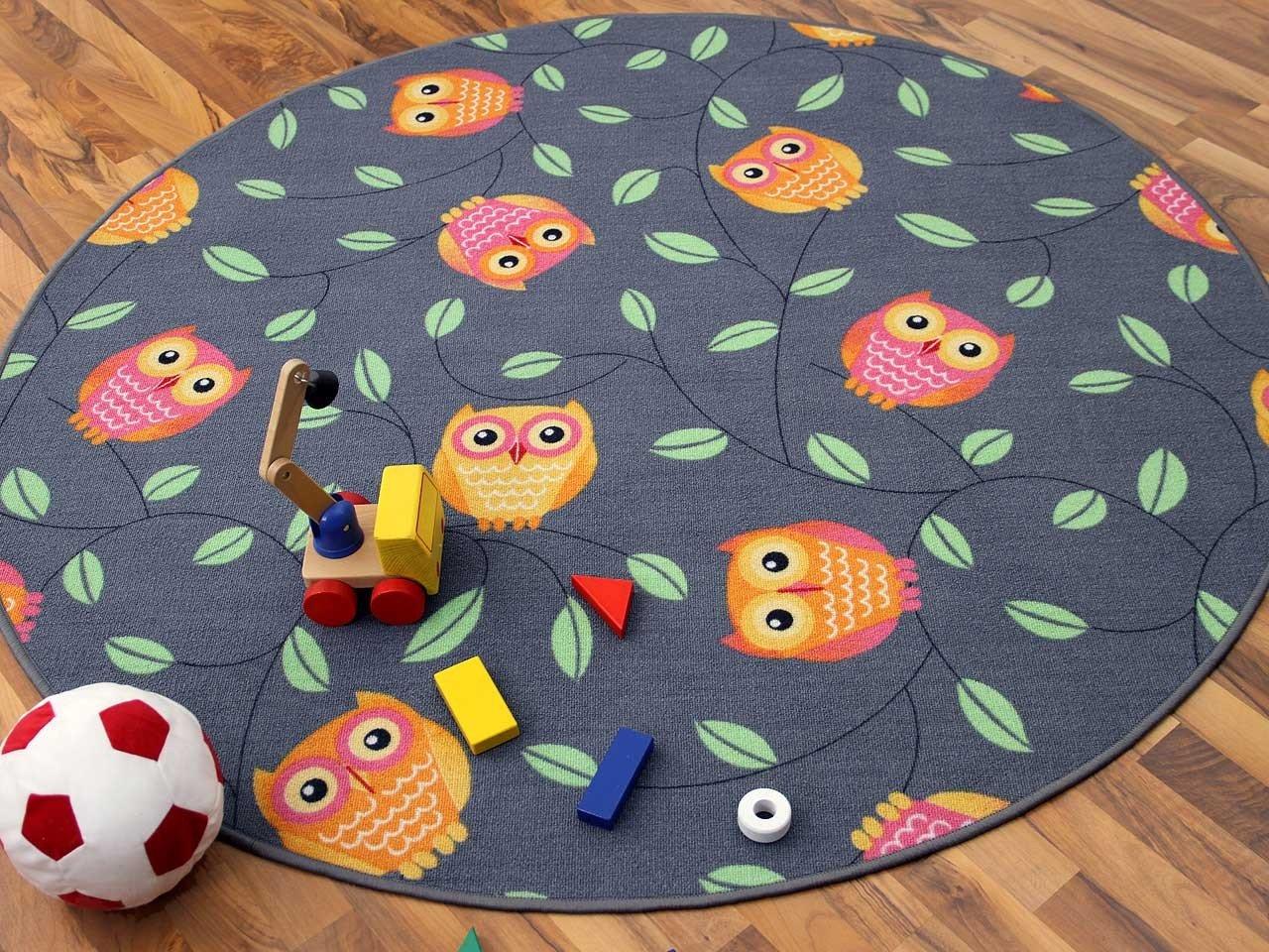 Tapis de jeu pour enfant chouette en gris rond - 4 tailles disponibles Snapstyle