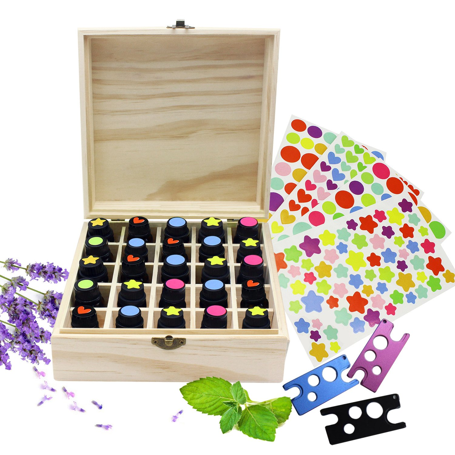 PURENJOY Essential Oil Wooden Storage Box Case, 25 Compartment Stores 5ml 10ml 15ml Essential Oils Bottles, Nail Polish Or Lipsticks, Includes 4 Stickers and 1 Essential Oil Bottle Opener