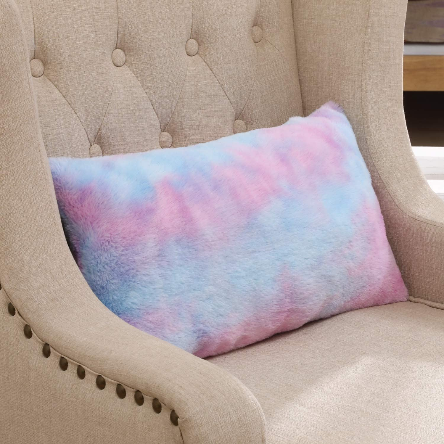 Muchique Pack Of 2 Soft Faux Fur Decorative Lumbar Throw Pillow Covers Cushion Cases Pillowcases For Sofa Bedroom Car 12 X 20 Inches Purple Home Kitchen