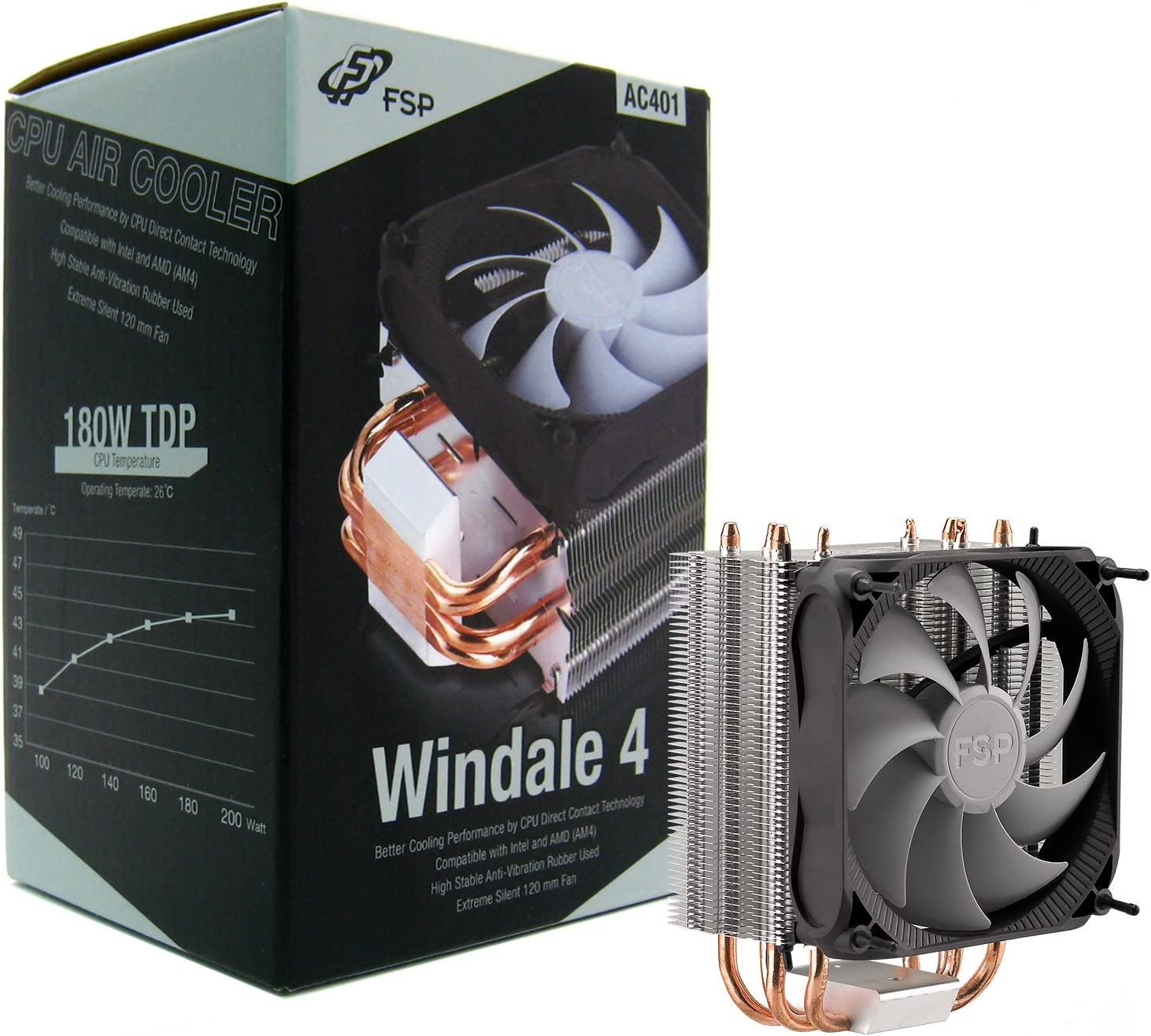 FSP Windale 4 CPU Cooler 4 Direct Contact Heatpipes 6mm Aluminum Alloy with 120mm PWM Fan (AC401)
