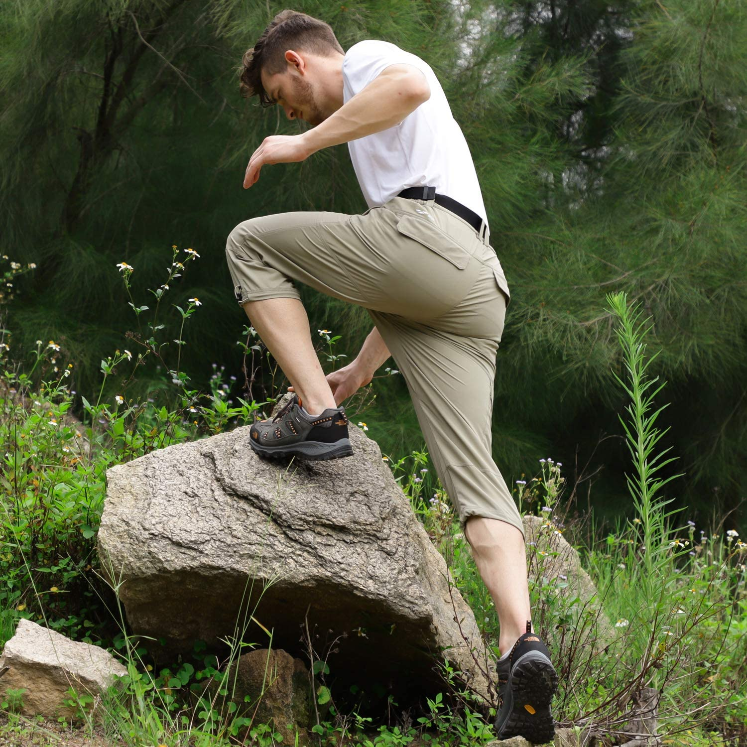 MIER Mens Quick Dry Hiking Capris Pants Lightweight Stretchy Cargo Shorts Below Knee with 5 Pockets Water Resistant