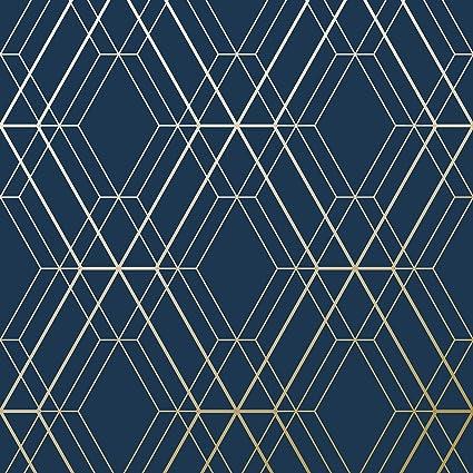 Metro Diamond Geometric Wallpaper Navy Blue And Gold Wow003 World Of Wallpaper