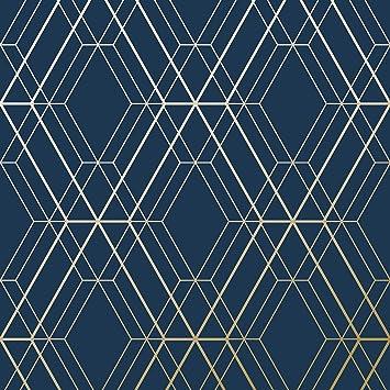 Papier Peint Bleu Et Or.Papier Peint Metro Diamond Geometrique Bleu Marine Et Or Wow003 World Of Wallpaper