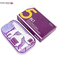 Xcellent Global 5-in-1 Derma Roller Kit - 4 Separate Roller Heads of Different Micro Needle Count 180c/600c/1200c/12c in 0.5mm, 1.0mm , 1.5mm &2.0 mm Size Made of Medical Steel for Eyes, Face, Body and Acne With Disinfection Box HG241