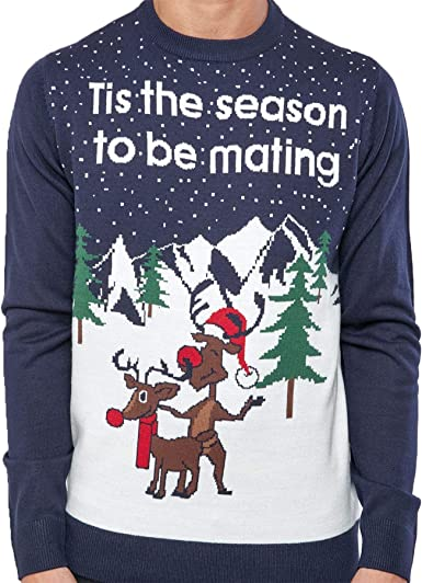 Mens Christmas Jumper Stag Reindeer Knit Winter Sweater Xmas Top Size