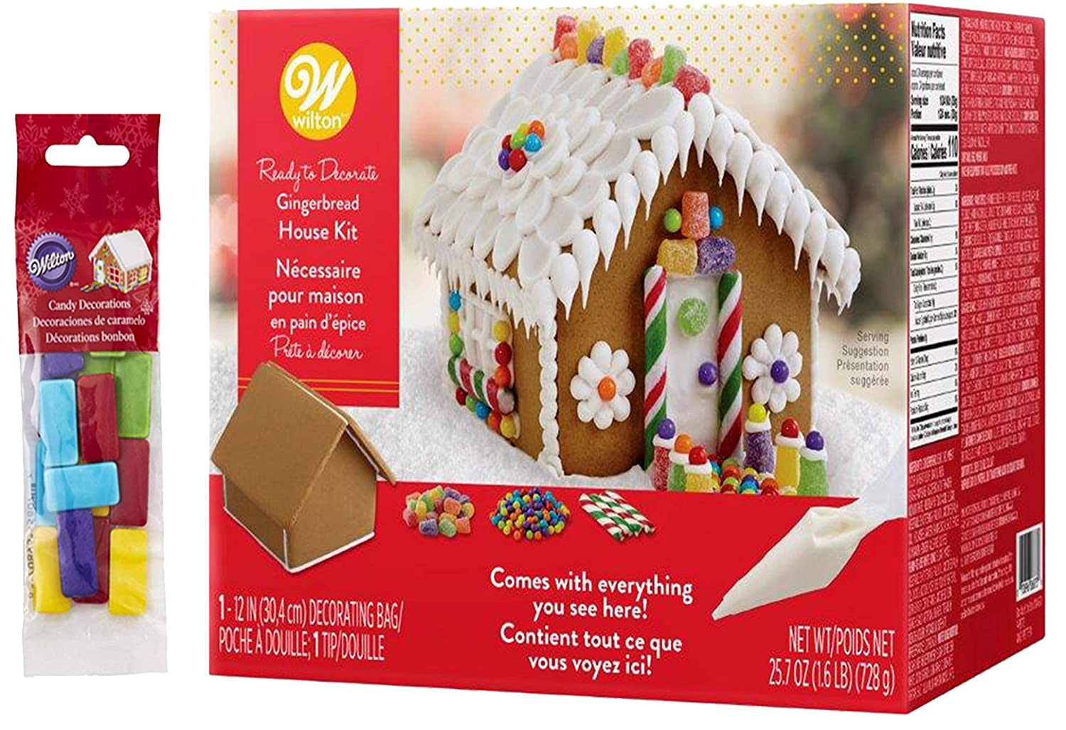 Pre-Assembled Gingerbread House Kit Ready To Decorate, Christmas Fun decorating Kit, Includes: House, Icing, Fondant, Candies, Decorating Bag & Tip - Bundled With Extra Candy!
