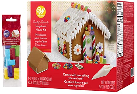 Christmas Gingerbread House Decorations.Wilton Christmas Gingerbread House Kit Pre Assembled Ready To Decorate Christmas Fun Decorating Kit Includes House Icing Fondant Candies
