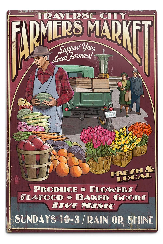 上品なスタイル Traverse Metal City、ミシガン州 – Farmers Market Sign Vintage 18 Sign 12 x 18 Metal Sign LANT-43923-12x18M B06Y1JJ29M 12 x 18 Metal Sign, 伊都郡:04024d31 --- 4x4.lt