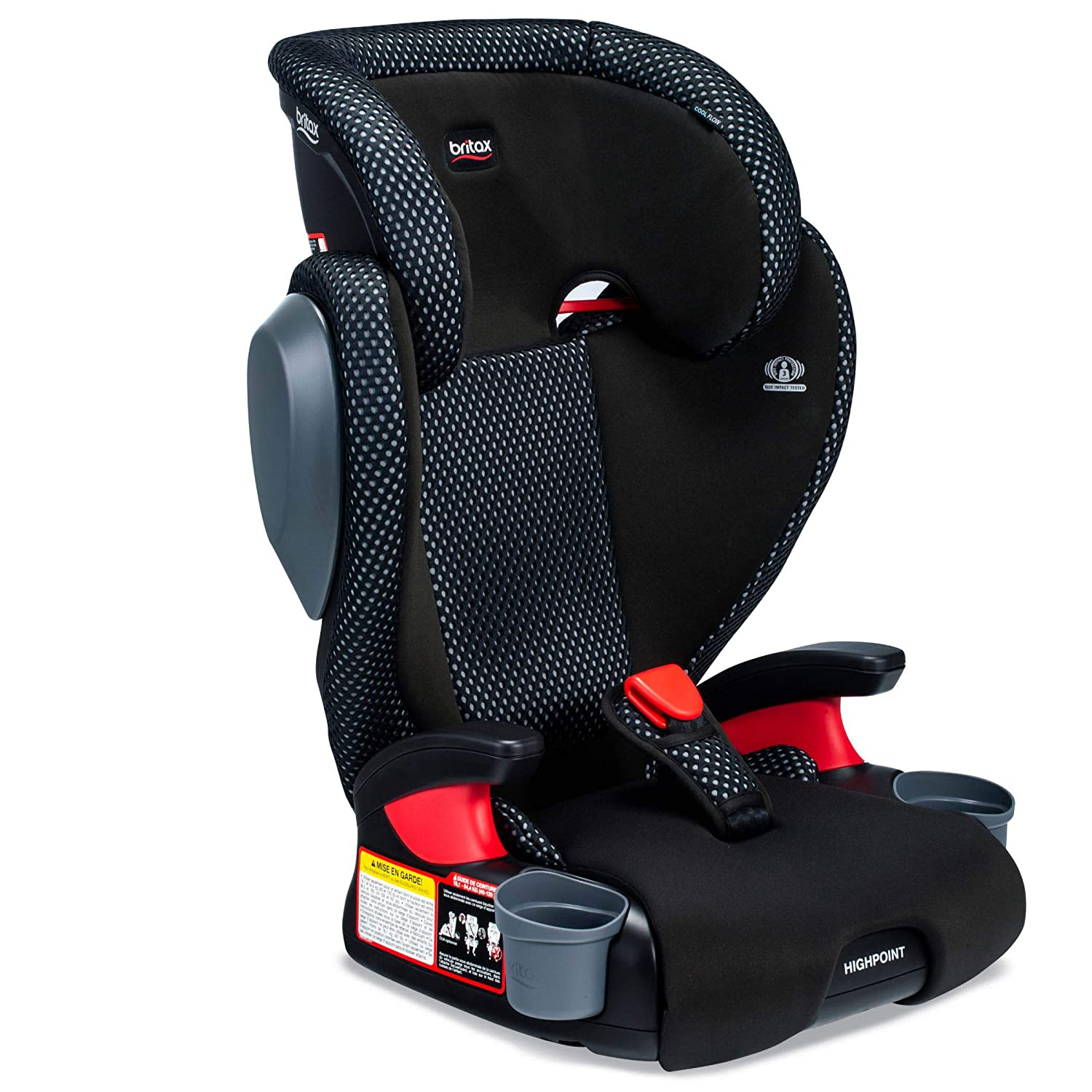 Britax USA Highpoint 2-Stage Belt-Positioning Booster Cool Flow Ventilating Fabric Car Seat - Highback and Backless - 3 Layer Impact Protection - 40 to 120 Pounds, Gray