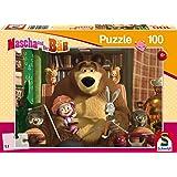 Schmidt Spiele Puzzle 56141 - Mascha und der Bär, Filmabend, 100 Teile
