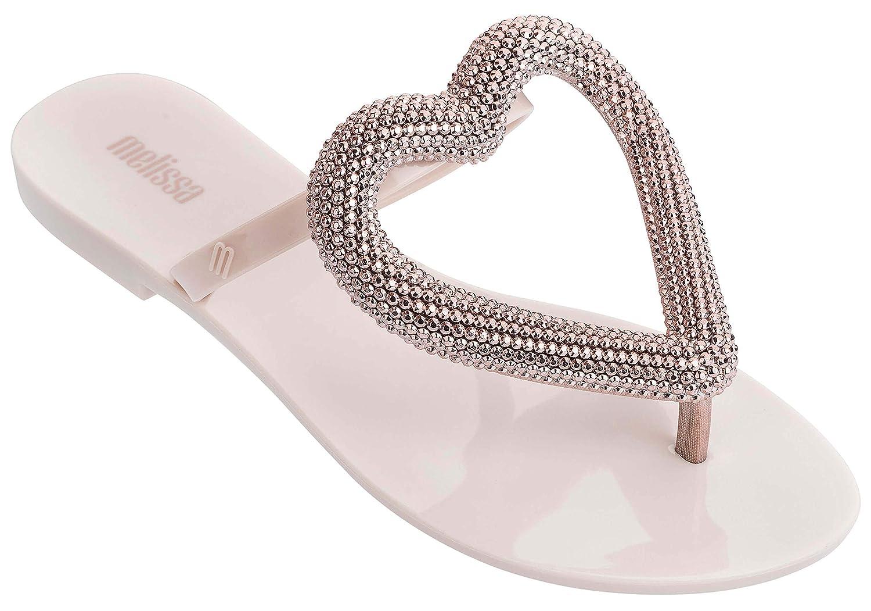 Melissa Womens Big Heart Chrome Flip Flop Sandals