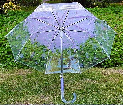 Mariposa del Amor de la Cereza Gruesas Paraguas Transparente japoneses Pequeño Largo Fresco Paraguas automático del