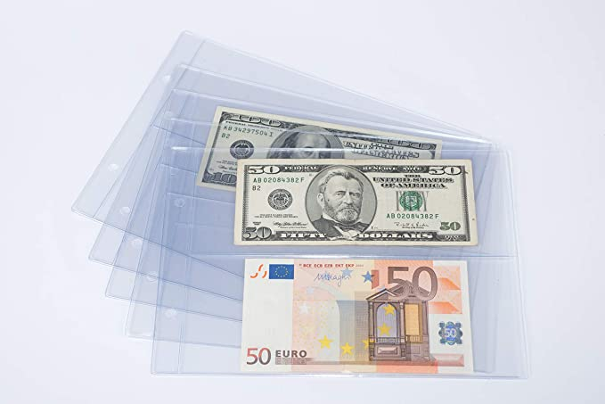 10 Bundle 7X14cm Currency Sleeves Holders Banknotes Bills Collections pouch 3#
