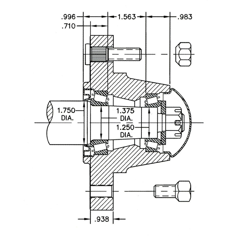 Model# 0032 Fits Item# 247 3500-Lb 6-Stud Capacity Reliable Ag Hub Assembly