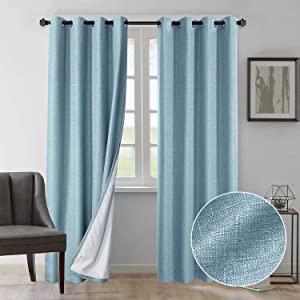 Rose Home Fashion Natural Linen Look, 100% Blackout Curtains(with Liner), Linen Blackout Curtains& Blackout Thermal Insulated Liner, Burlap Curtains-Set of 2 Panels(50x84 Blue)