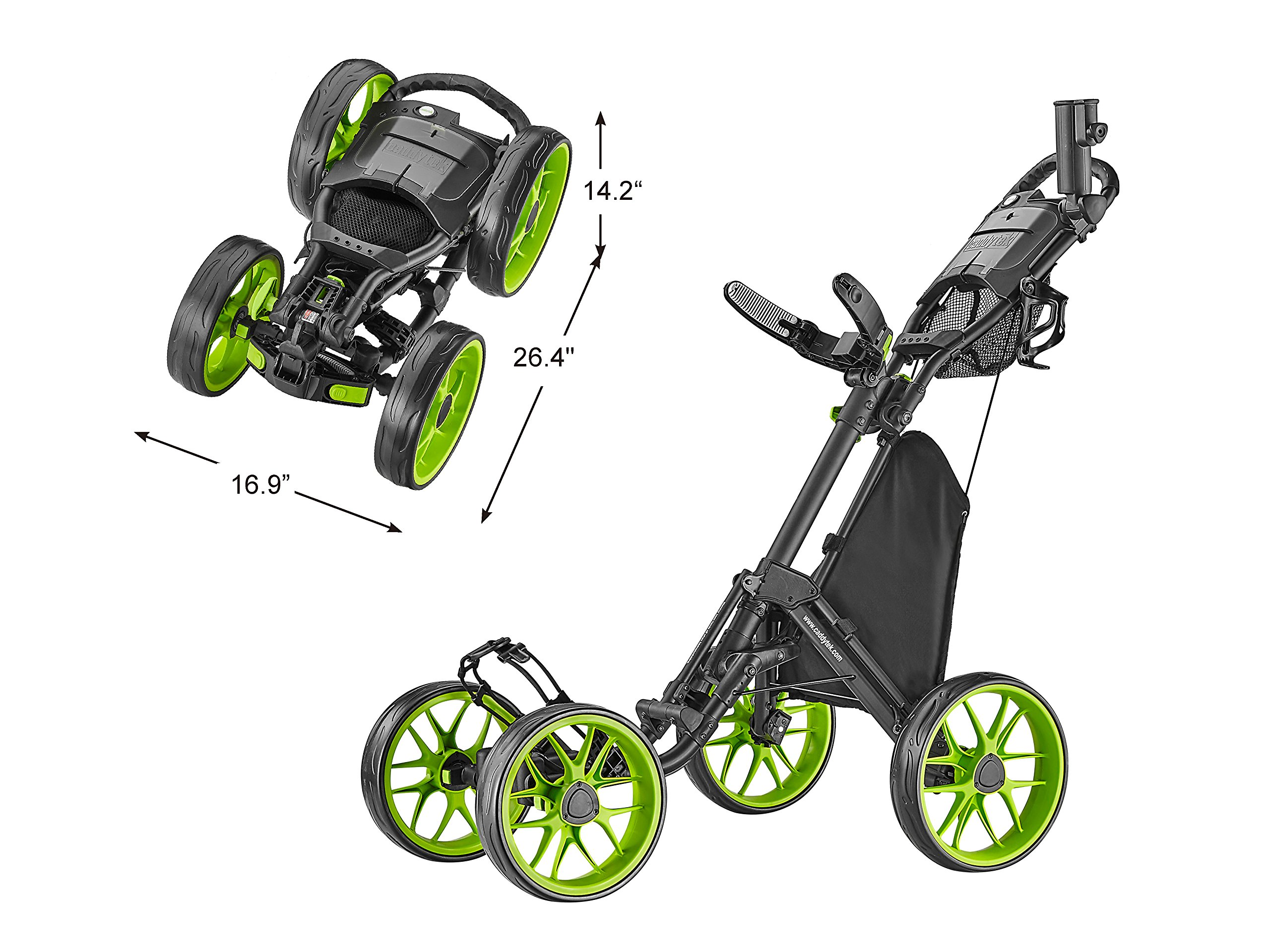CaddyTek Caddycruiser One Version 8 - One-Click Folding 4 Wheel Golf Push Cart, Lime by CaddyTek