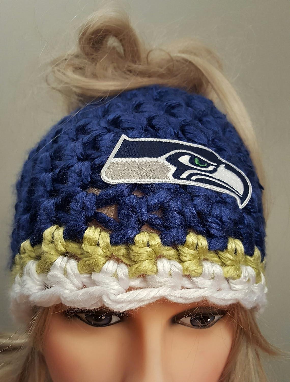 Amazoncom Crochet Seahawks Bun Hat Handmade