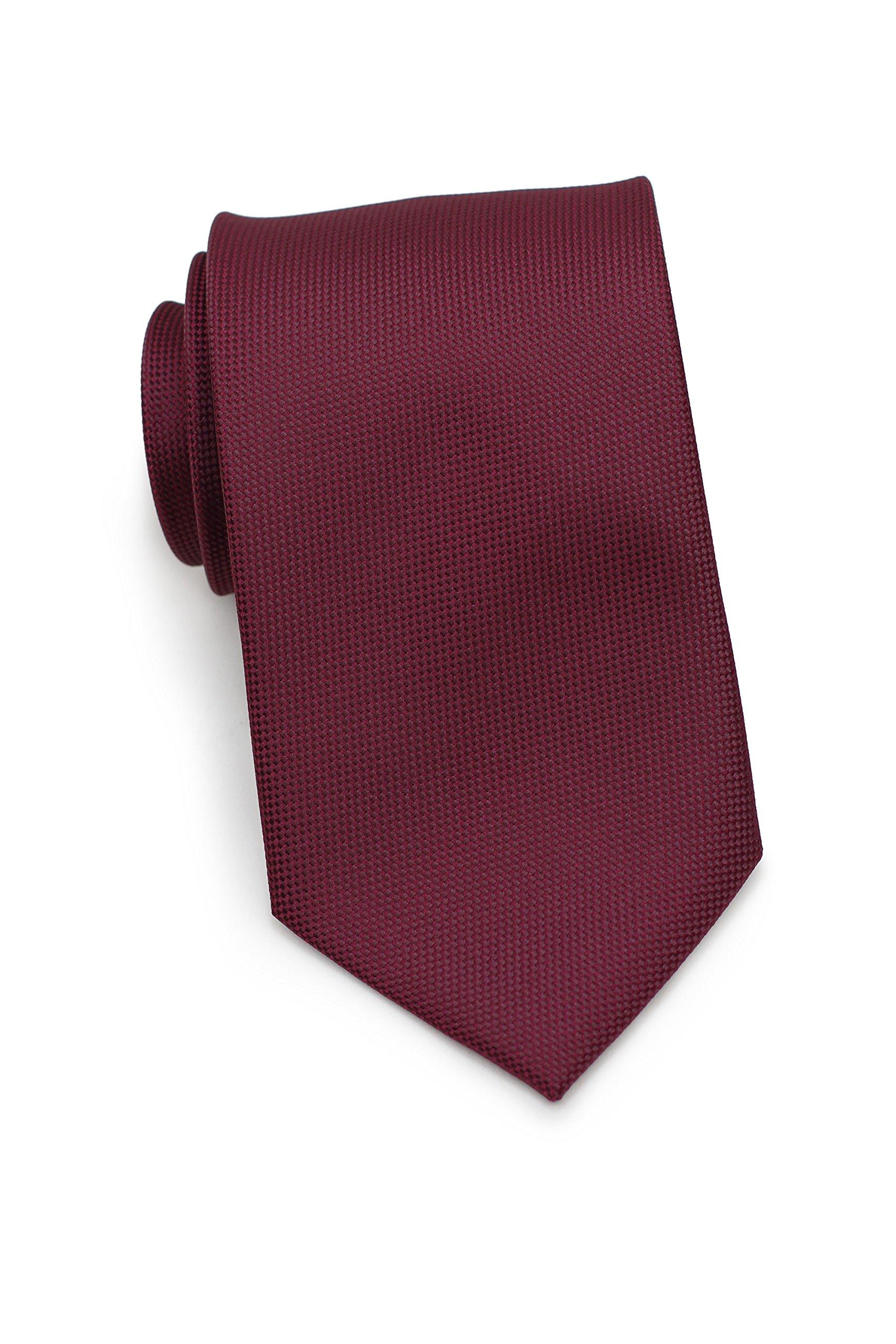 Bows-N-Ties Men's Necktie Solid Textured Microfiber Matte Tie 3.25 Inches (Maroon)