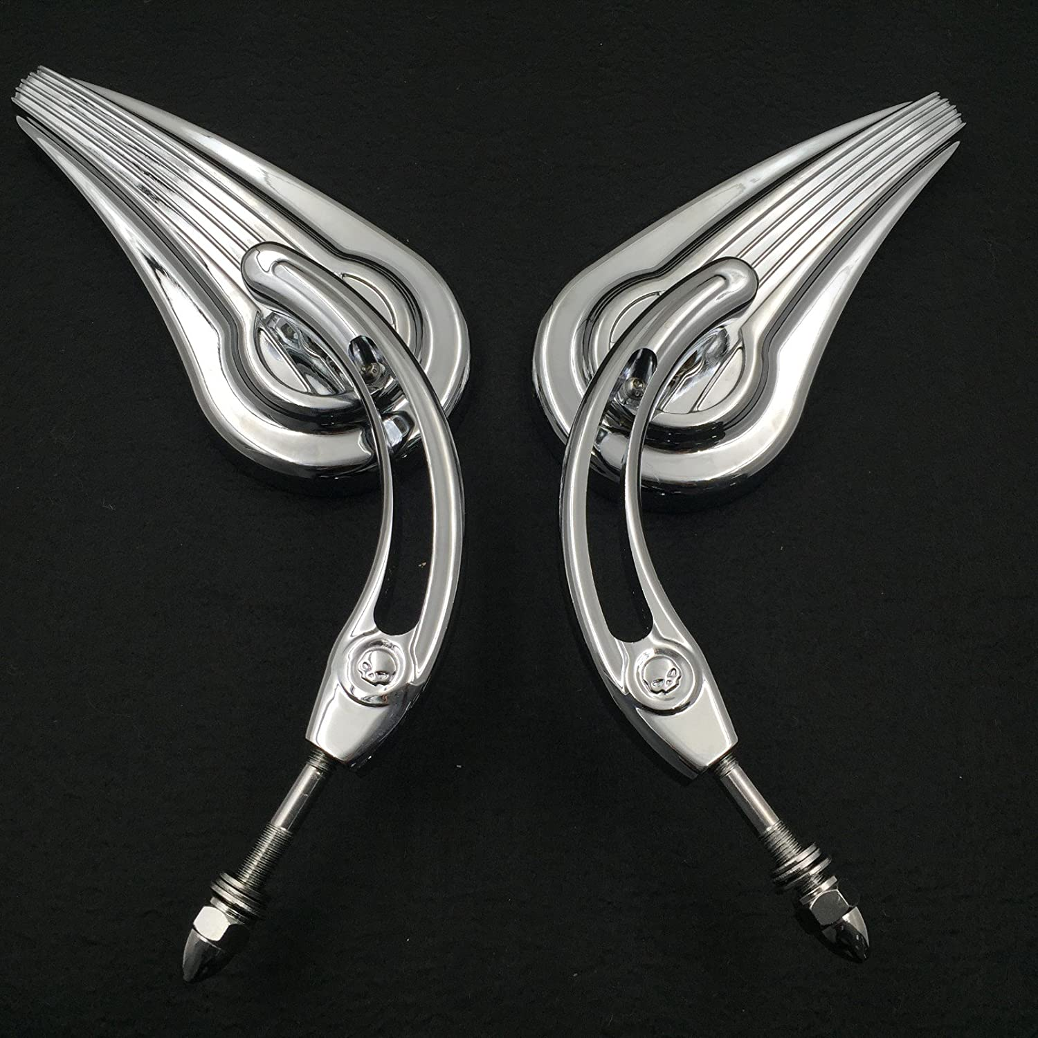 HTT Motorcycle Chrome Raindrop Side Mirrors For 1984 and up Harley Davidson Softtail Slim Fat Boy Heritage Softail Classic Deluxe Breakout Night Road Special