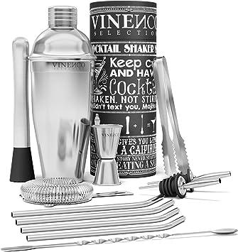 Regun Edelstahl Shaker Cocktail Shaker Bar Mixing Shaker Home K/üchenwerkzeug Gr/ö/ße : 600ml Wein