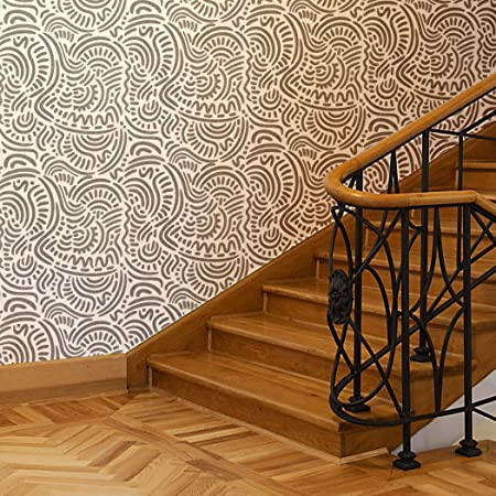 J BOUTIQUE STENCILS Large Ethnic Wall Stencil Elroy For DIY Wallpaper Look And Easy Home