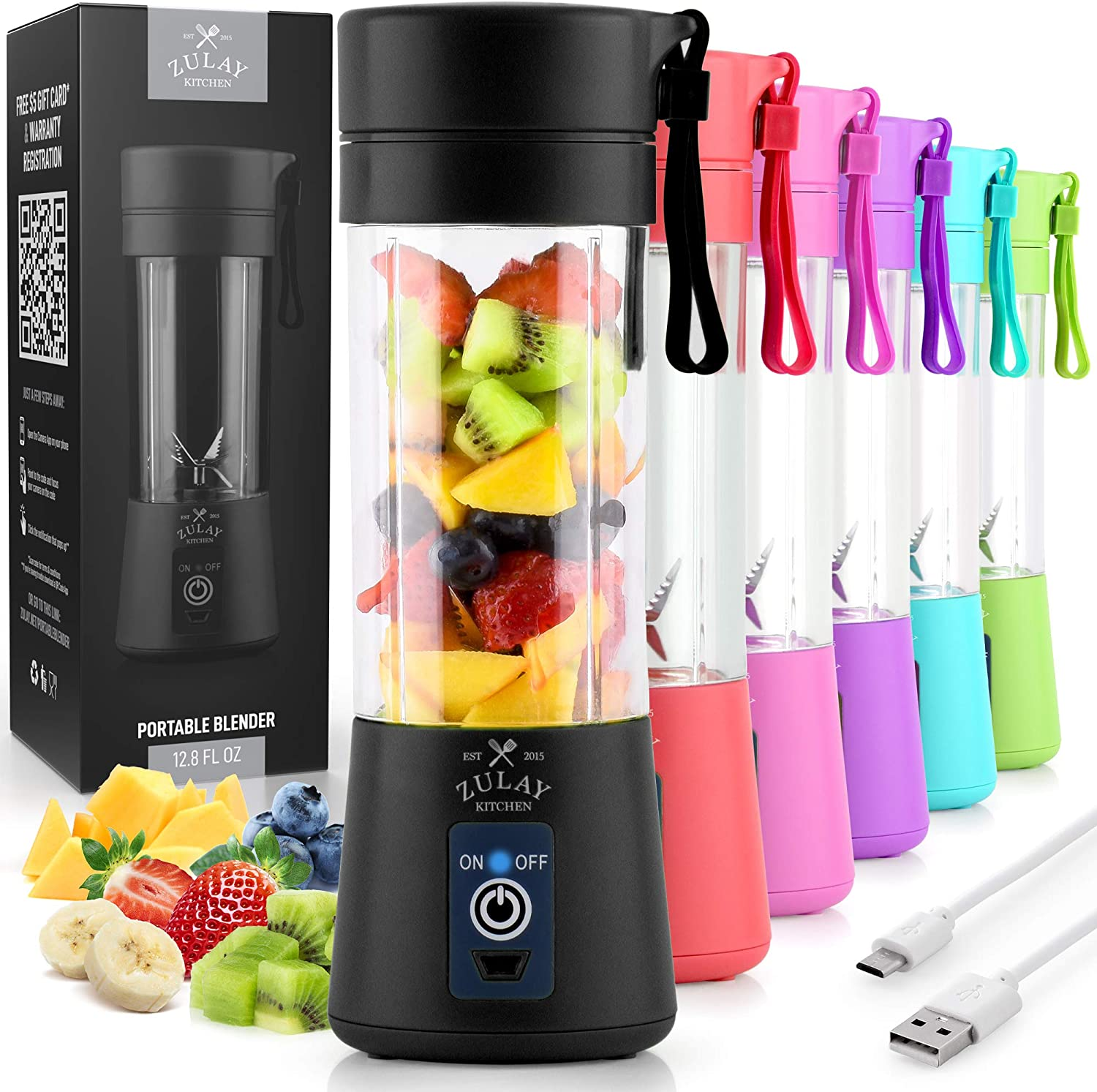 13oz Capacity Personal Mini Blender Portable Zulay Portable Blender For Shakes And Smoothies USB Rechargeable Portable Smoothie Blender Small For Travel Black