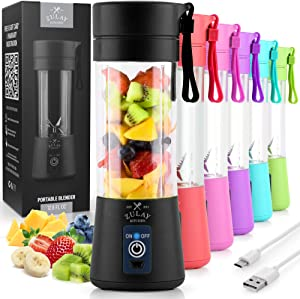 Zulay Portable Blender For Shakes And Smoothies - USB Rechargeable Portable Smoothie Blender Small For Travel - 13oz Capacity Personal Mini Blender Portable - Black