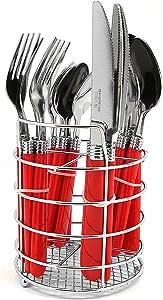 Sensations II 16 Piece Plastic Handle Flatware in Red by Gibson Overseas