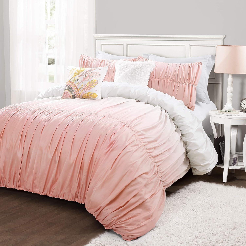 Lush Decor Umbre Fiesta 5 Piece Comforter Set, Full/Queen, Blush