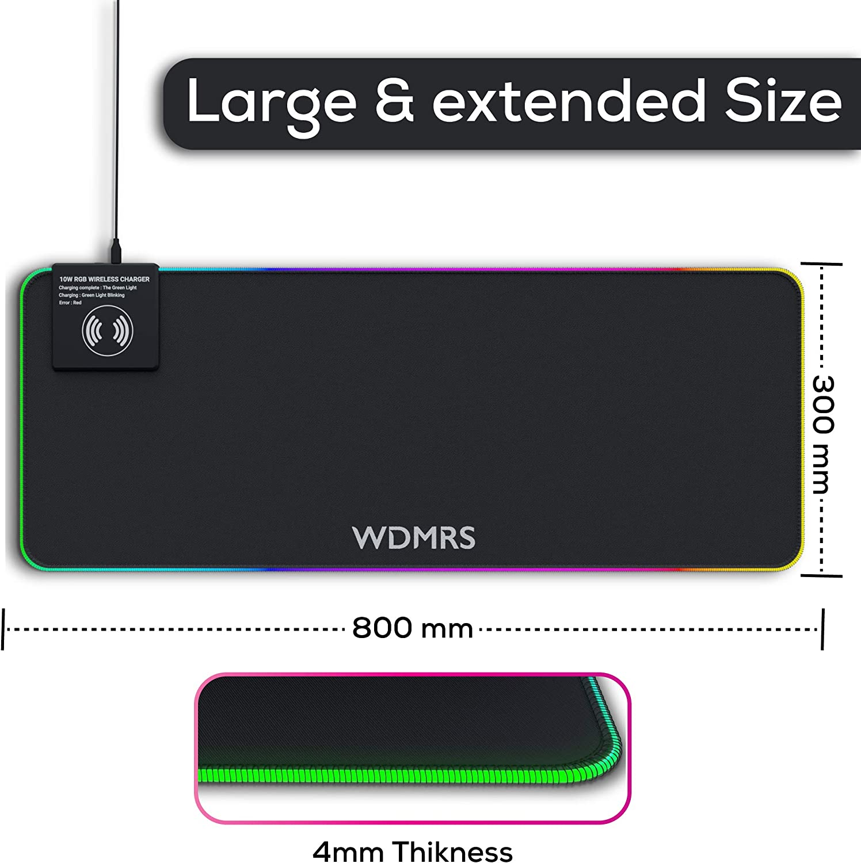 Base de Goma Antideslizante y Superficie Suave Resistente al Agua para Gamers WDMRS Alfombrilla de Rat/ón Gaming RGB 800x300x4mm Extra Grande Carga Inal/ámbrica 10W PC y Port/átil