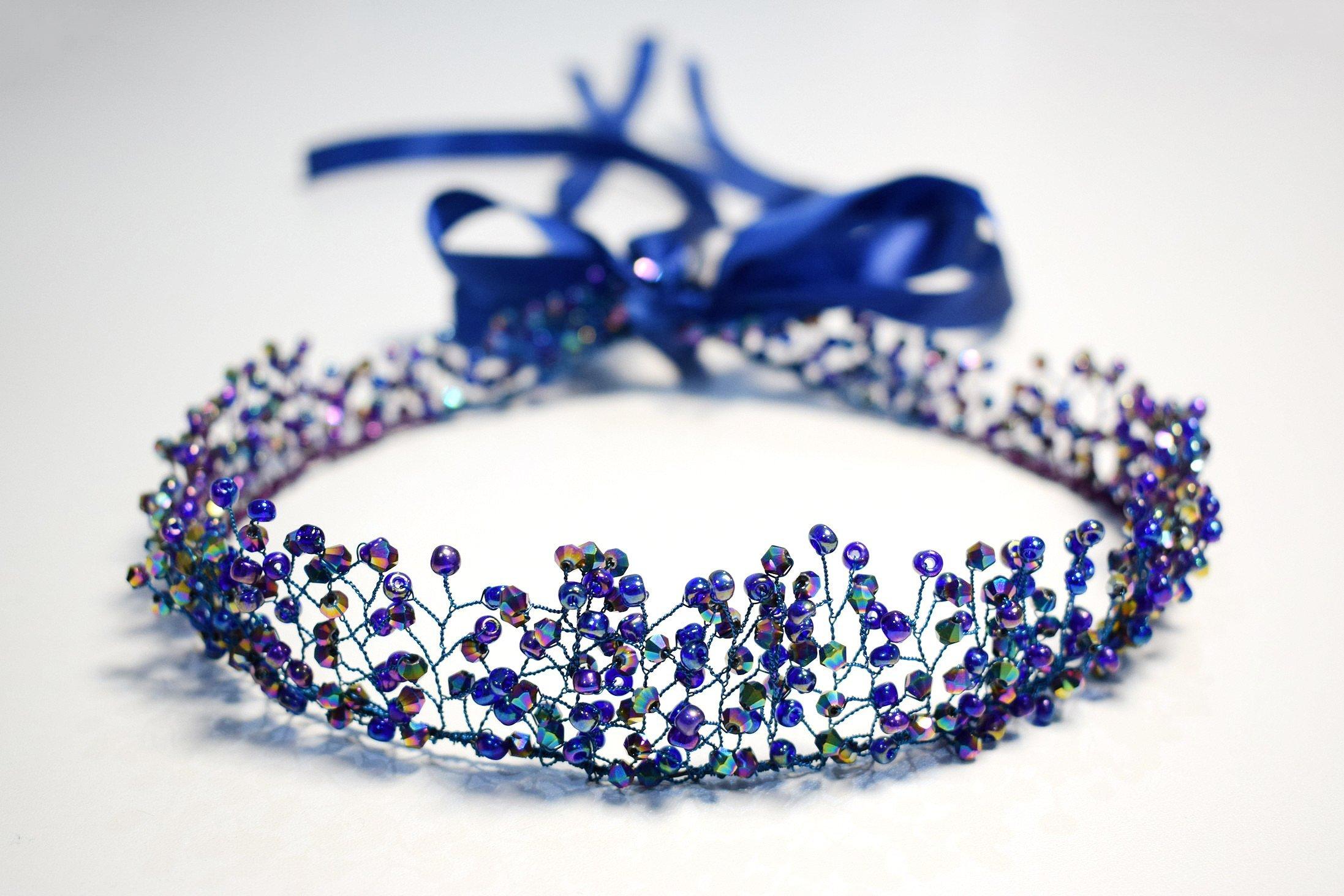 Metalic Blue Green Purple Mix Bridal Crown