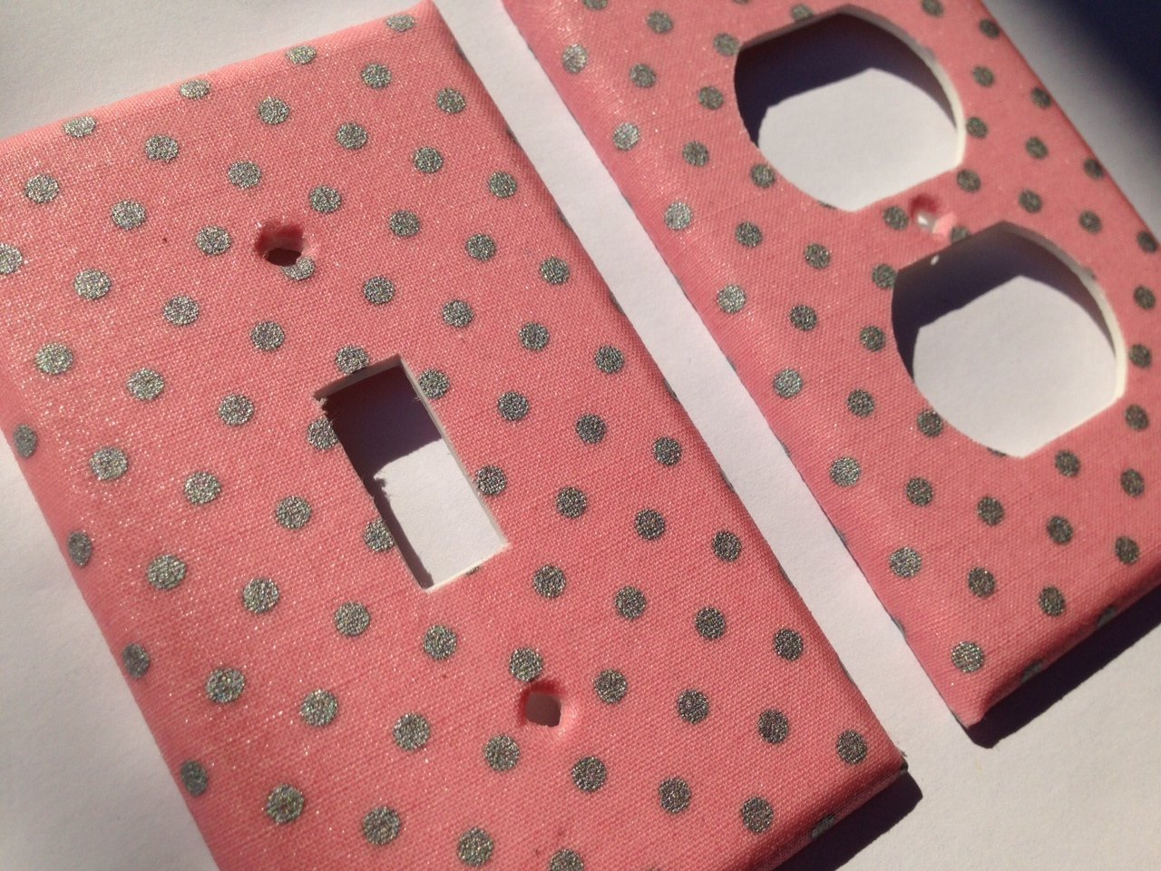 Amazoncom Pink And Metallic Silver Polka Dots Light Switch Cover