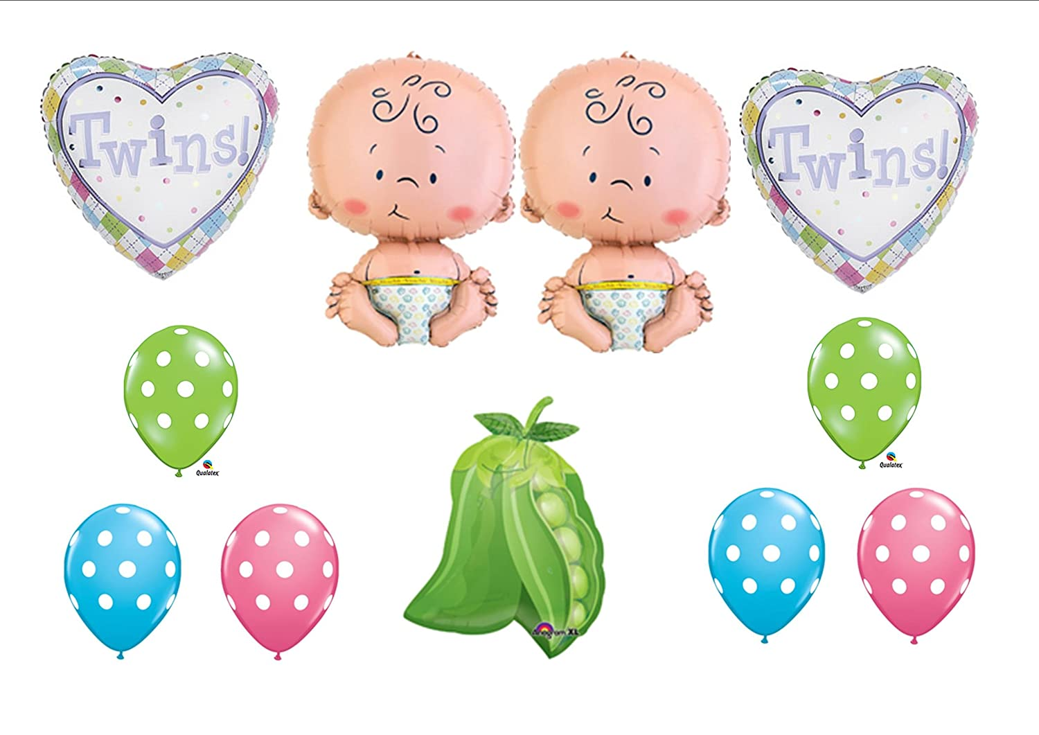 Amazon.com: Two Peas In A Pod Twin Baby Shower Balloon Decorating Kit  Supplies: Toys U0026 Games