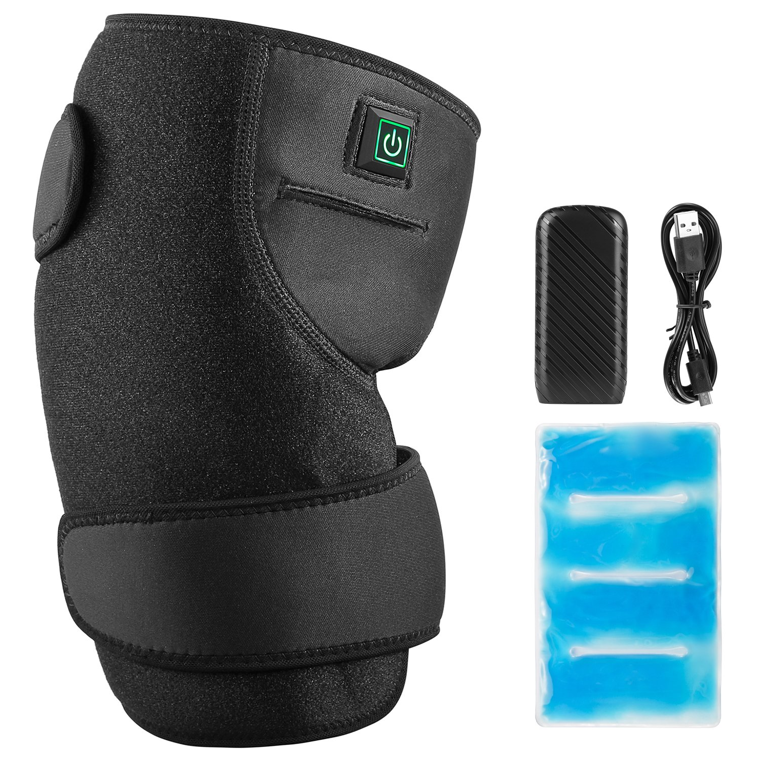 Fitfirst Knee Heating pad, 2 in 1 USB Powered Heat/Cold Therapy Knee Brace Wrap with 3 Heat Settings for Joint Pain, Arthritis Pain Relief, Ice Gel Pack and 5200mAh Power Bank Included