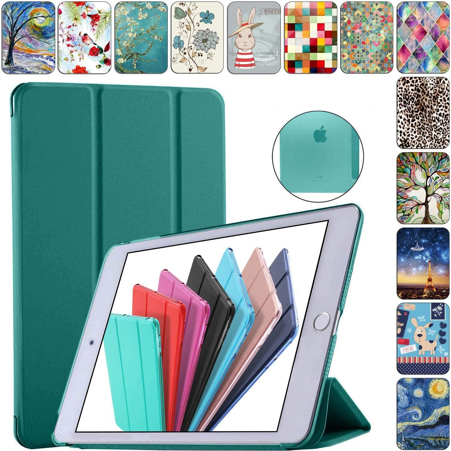 "DuraSafe Cases for iPad 4/3 / 2-9.7"" A1458 A1459 A1460 A1403 A1416 A1430 A1395 A1396 A1397 Smart Tri Fold Cover with Translucent Back - Green"
