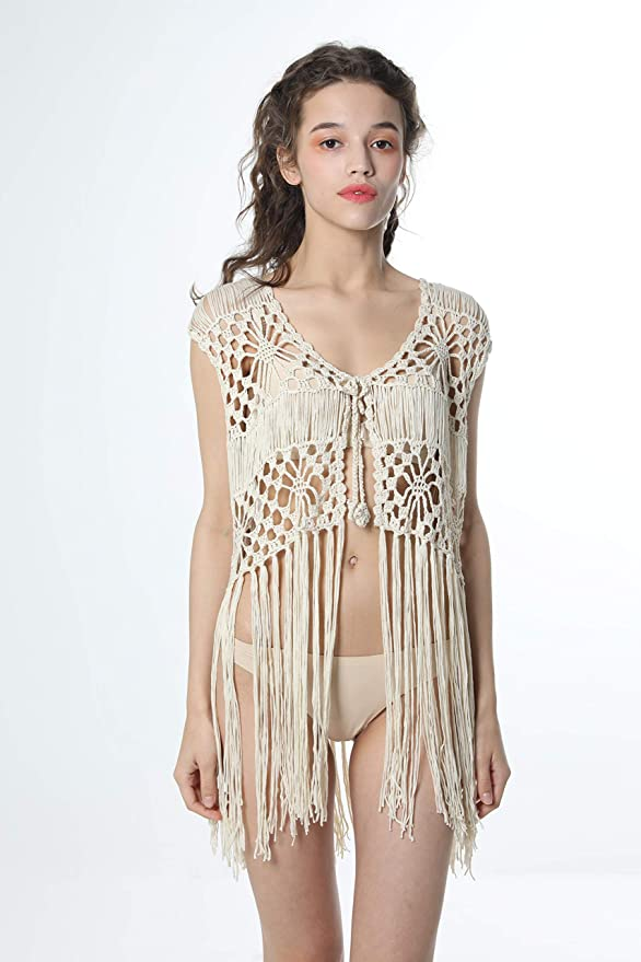 c97336055b249 Acemi Sleeveless Crochet Long Tassels Fringe Vest 70s Cover up Hippie  Clothes for Women Free Size at Amazon Women's Clothing store: