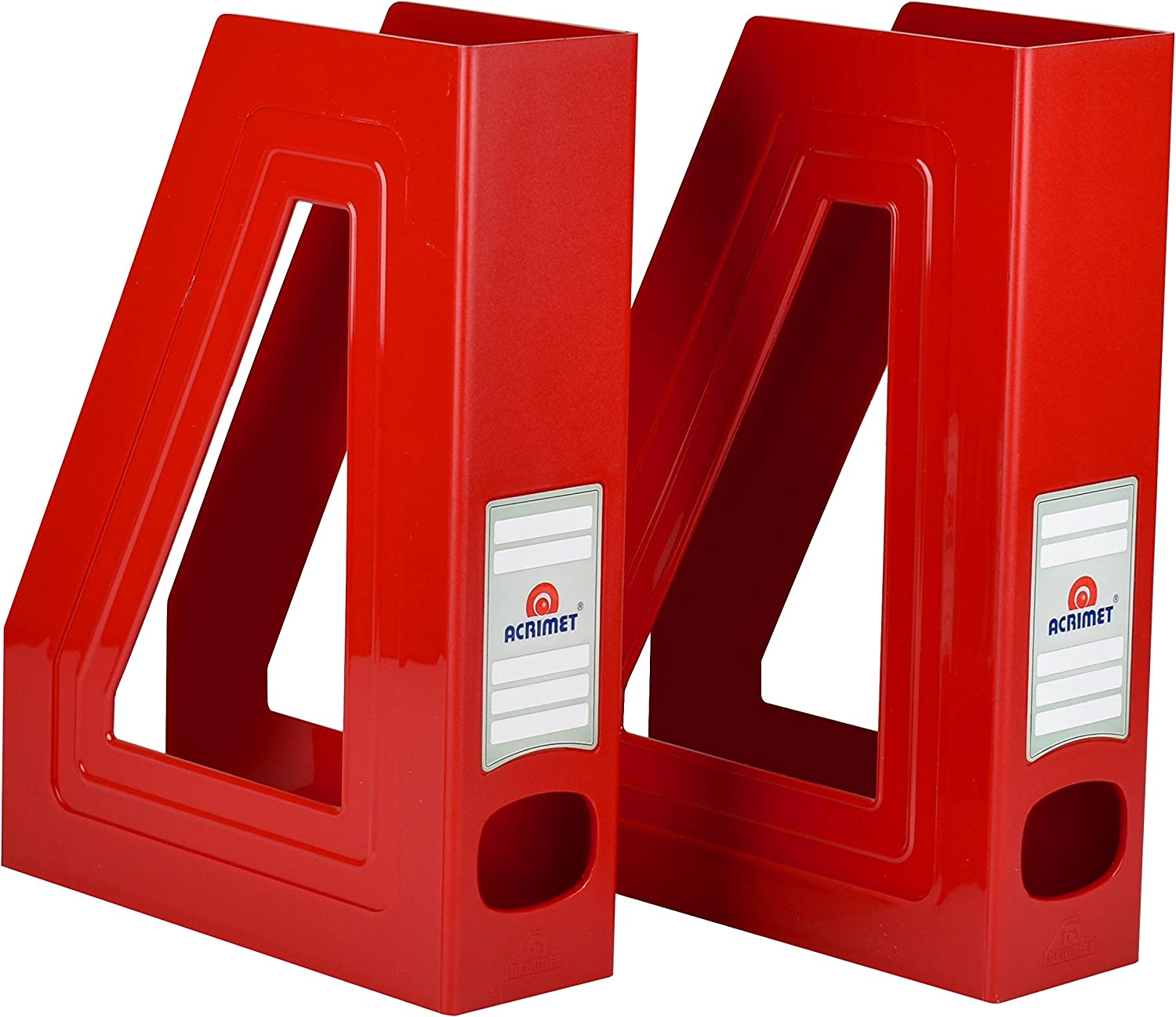 Acrimet Magazine File Holder Rack Organizer (Plastic) (Solid Red Color) (2 Pack)