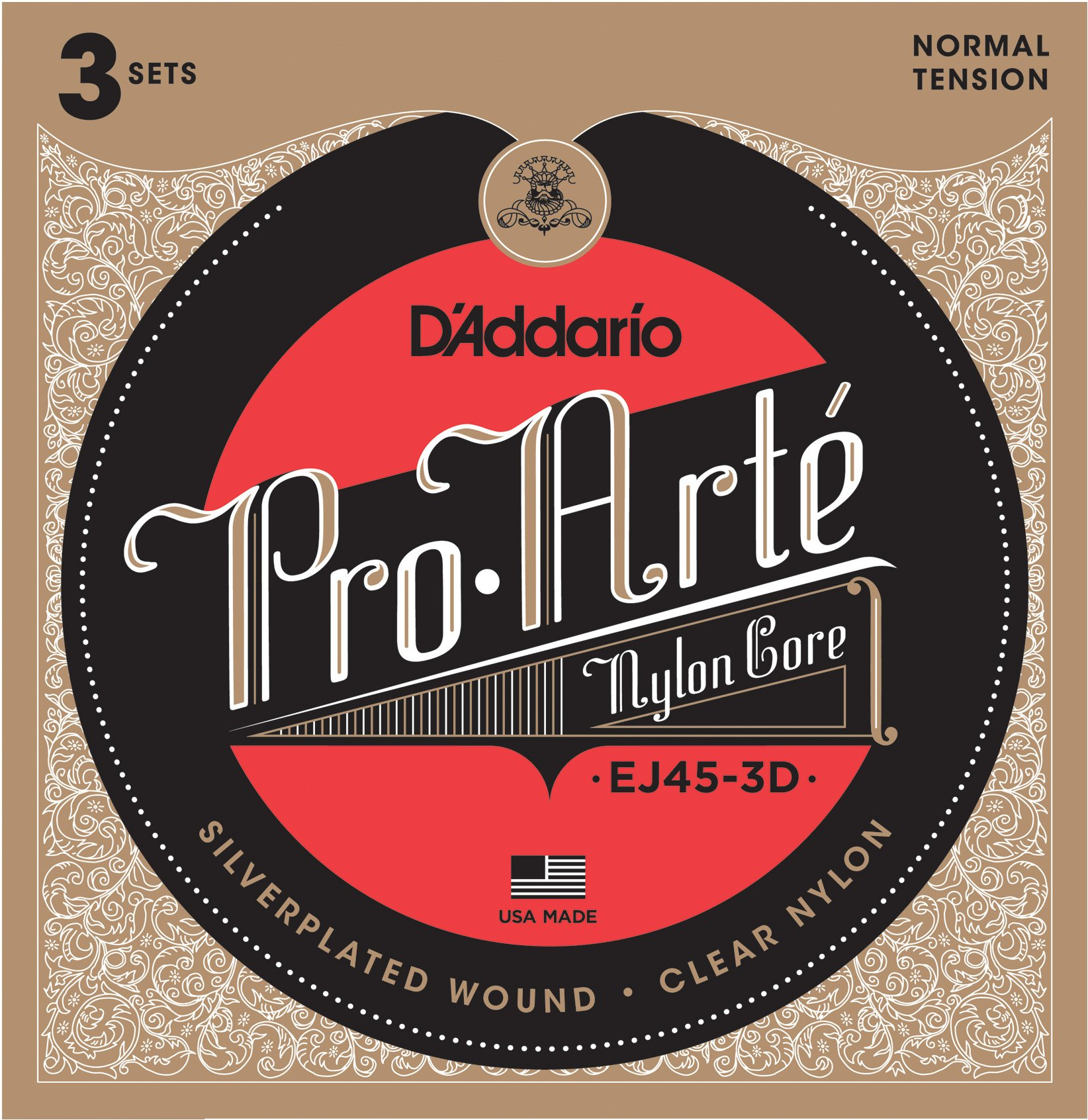 D'Addario EJ45-3D Pro-Arte Nylon Classical Guitar Strings, Normal Tension (3 Sets) - Nylon Core Basses, Laser Selected Trebles - Offers Balance of Volume and Comfortable Resistance by D'Addario