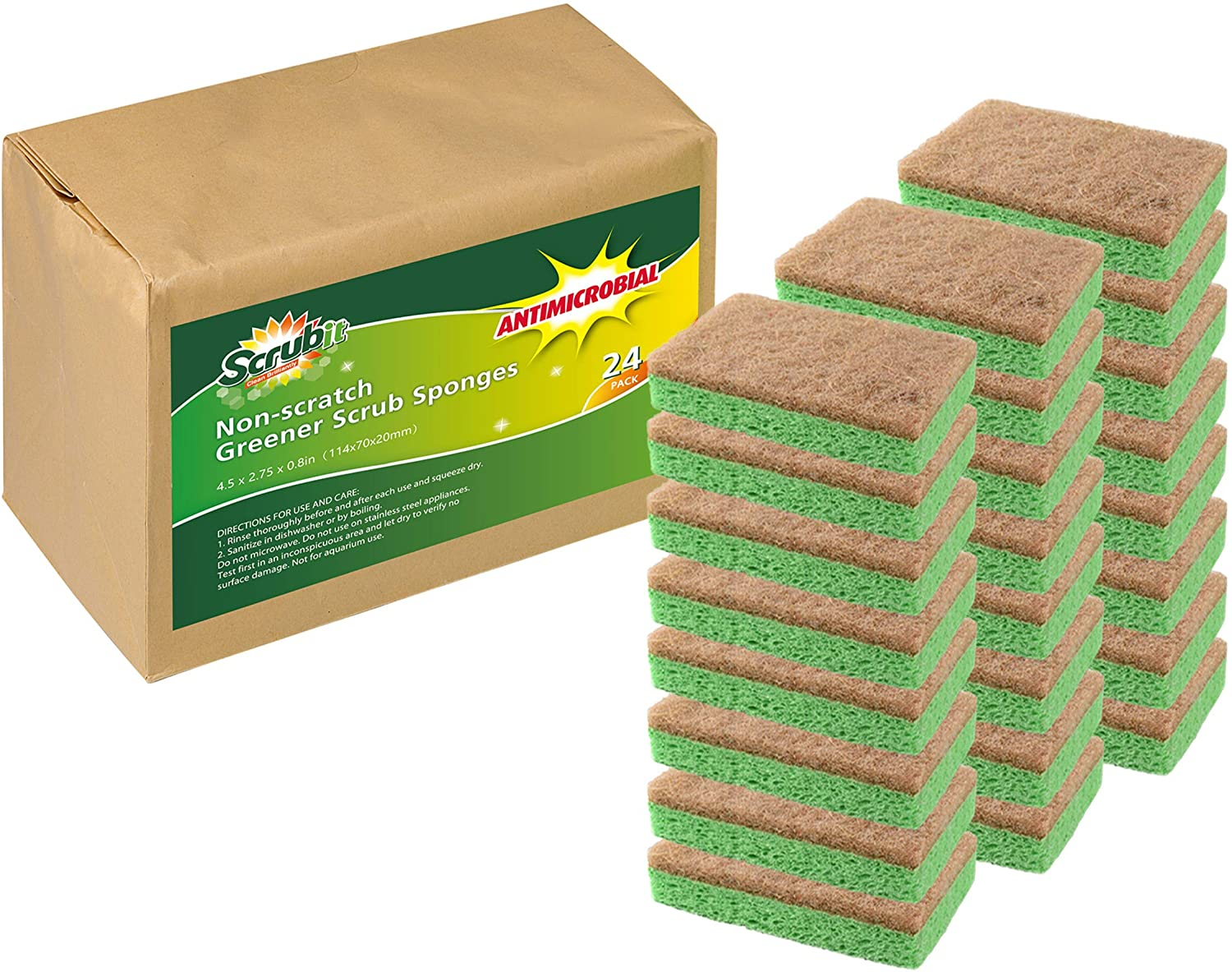Natural Plant-Based Scrub Sponge by Scrub-it, Non-Scratch, Biodegradable scrubbing sponges with a Tough Anti-Bacterial scouring pad for Kitchen and Bathroom– 24 Pack