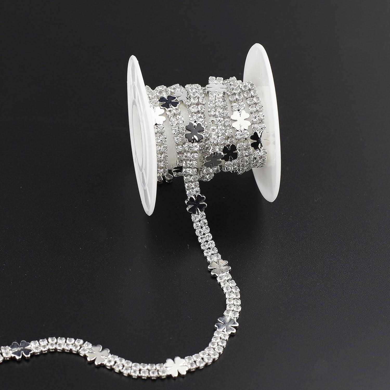 Beauty of Simplicity Elegant Crystal Rhinestone Chain Sewing Trim Jerler 1 Yard Rhinestone Trim Ideal Rhinestone Applique for Wedding Bridal Embellishments