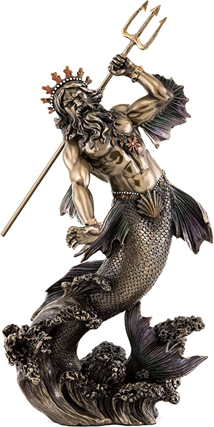 Amazon Com Top Collection Poseidon Holding Trident Statue Greek God Of The Sea Earthquakes And Horses Sculpture In Premium Cold Cast Bronze 11 Inch Collectible Roman Neptune Figurine Home Kitchen