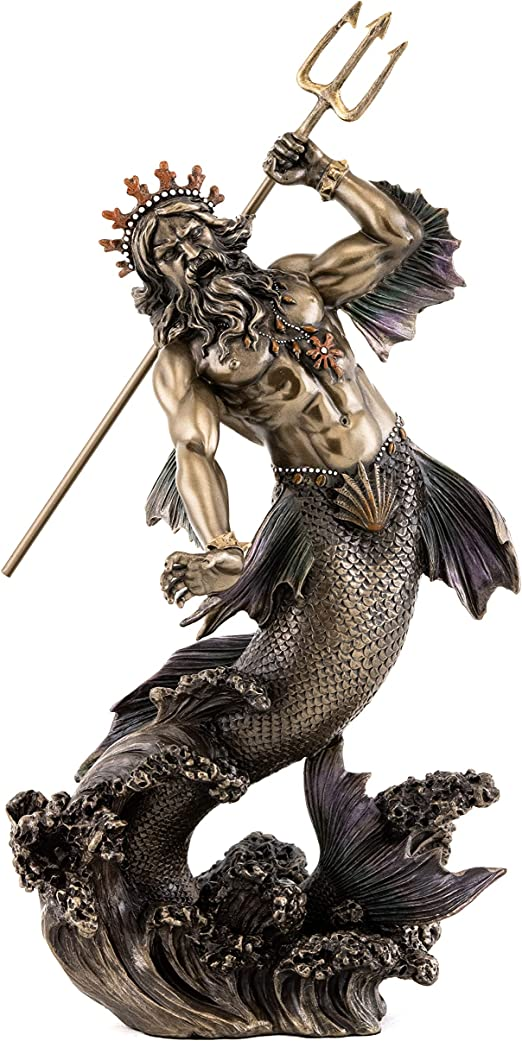 Top Collection Poseidon Holding Trident Statue Greek God Of The Sea Earthquakes And Horses Sculpture In Premium Cold Cast Bronze 11 Inch