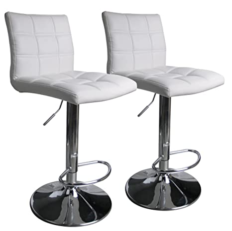 new product daaf2 e53ad Leopard Square Back Adjustable Swivel Bar Stools,PU Leather Padded with  Back, Set of 2 (White)