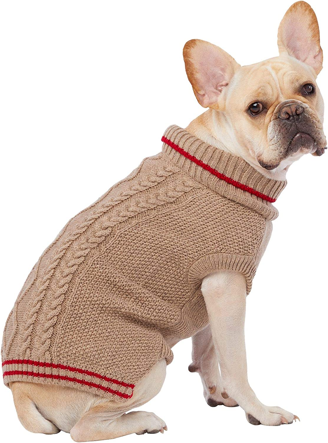 : TOP PAW Knitted Tan & Red Stripe Dog Sweater~X