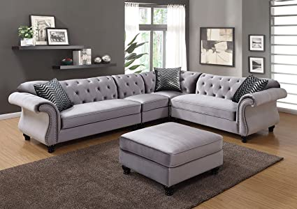 Esofastore Traditional Formal Sectional Sofa Gray Flannelette Fabric  Loveseat Chair Wedge Crystal Tufted Flared Arms Nailhead