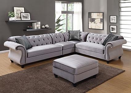 Amazon.com: Esofastore Traditional Formal Sectional Sofa Gray ...