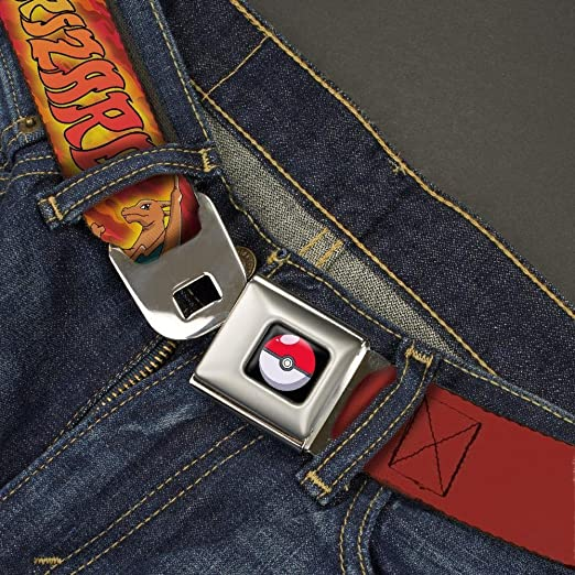 20-36 Inches in Length POKEMON CHARIZARD Poses//Flames Reds Buckle-Down Seatbelt Belt 1.0 Wide