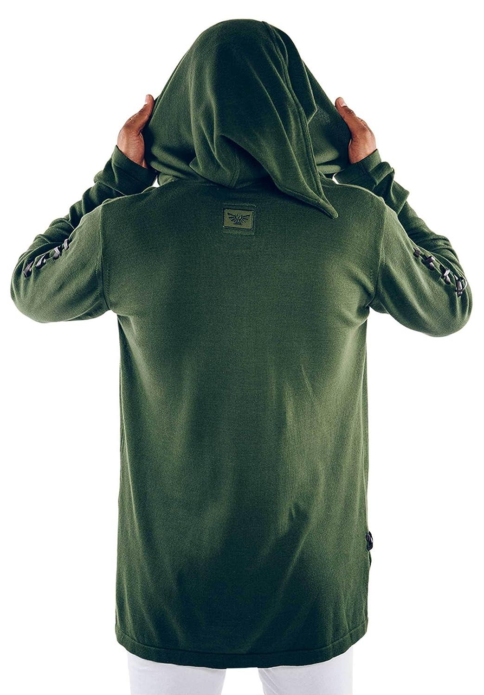 Musterbrand Zelda Maglione con Cappuccio Uomo Link Cape Unisex Knit Pullover Sweatshirt Sweater Shirt Hood Verde