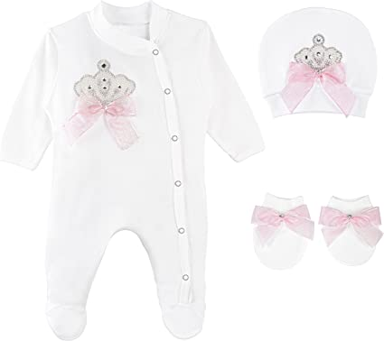 Lilax Baby Girl Jewels Crown Layette 3 Piece Gift Set 3-6 Months Pearl Crown