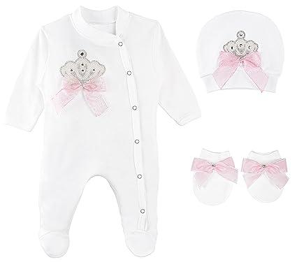 ac61dbf97 Amazon.com  Lilax Baby Girl Jewels Crown Layette 3 Piece Gift Set ...